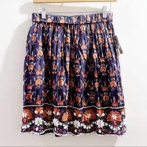 Anthropologie Maeve Blue Beaded Floral Skirt Small